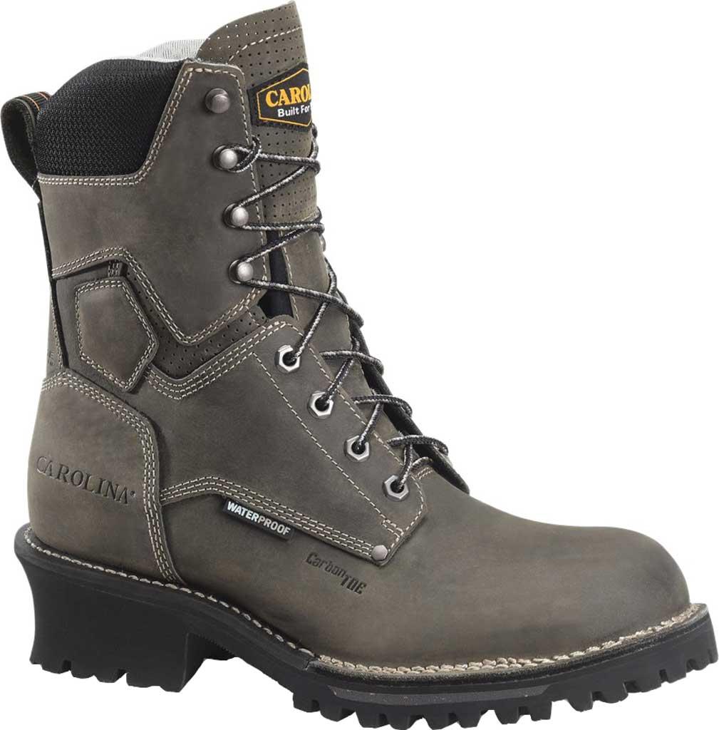 "Men's Carolina Pitstop 8"" Waterproof Carbon Comp Toe Logger, Grey Leather, large, image 1"