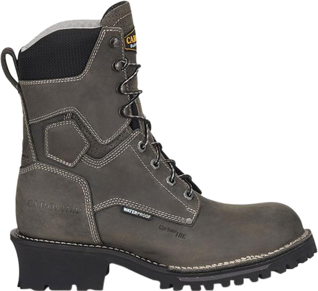 "Men's Carolina Pitstop 8"" Waterproof Carbon Comp Toe Logger, Grey Leather, large, image 2"