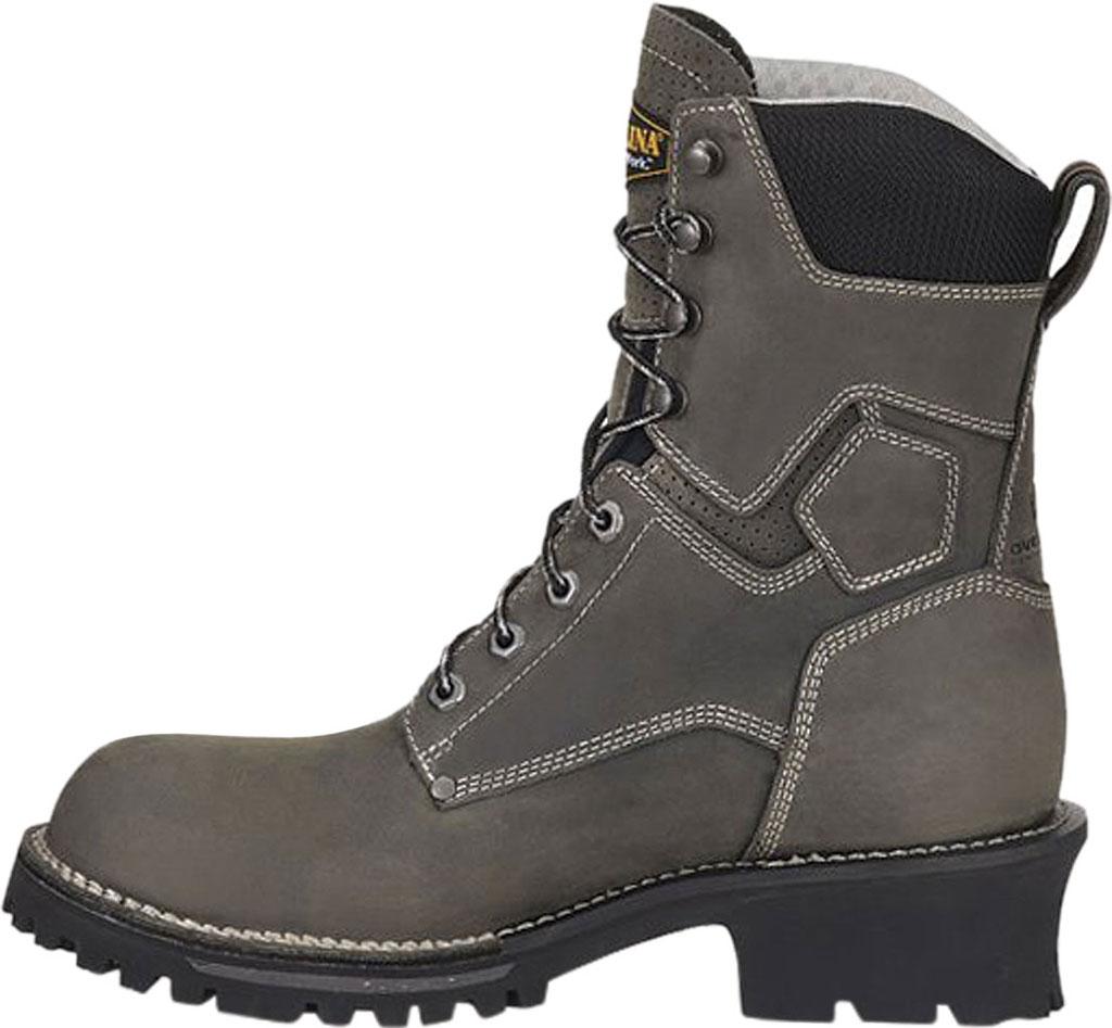 "Men's Carolina Pitstop 8"" Waterproof Carbon Comp Toe Logger, Grey Leather, large, image 3"
