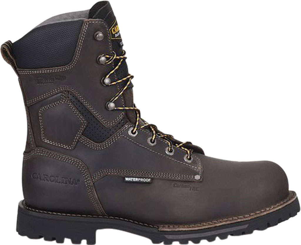 """Men's Carolina Pitstop 8"""" Waterproof Insulated Comp Toe Work Boot, Gray/Black Parachute Leather, large, image 1"""