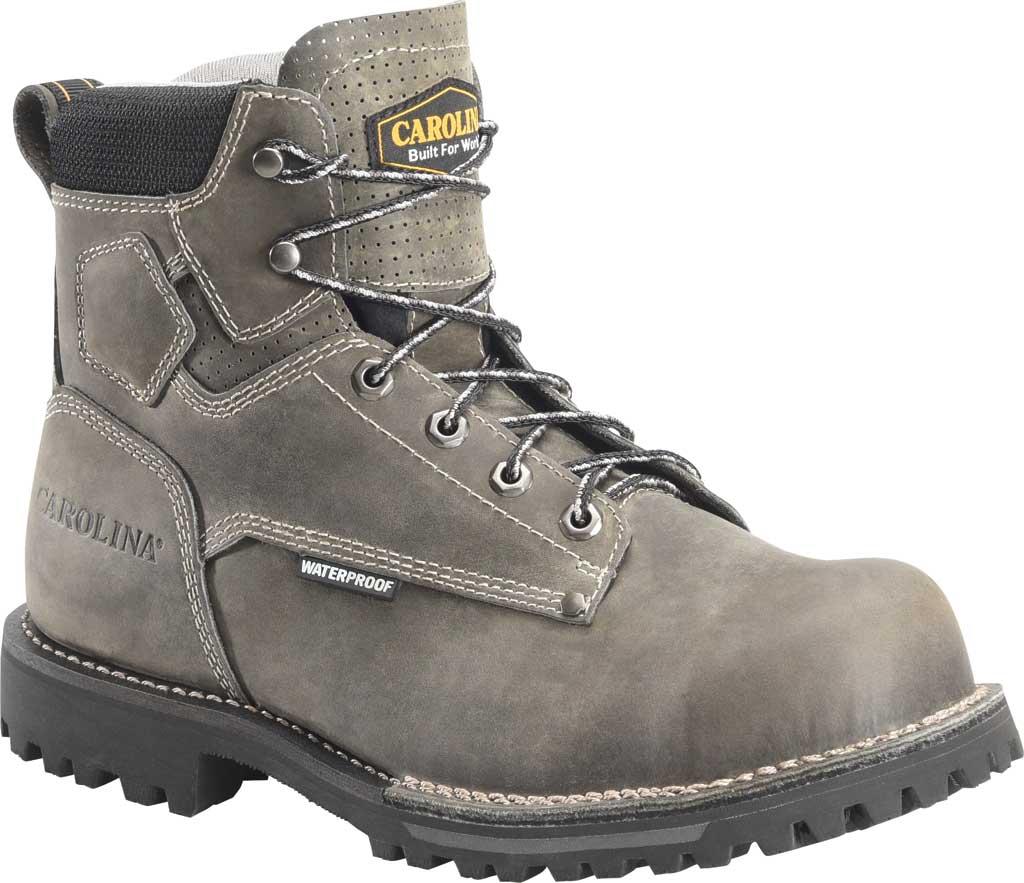 "Men's Carolina 6"" Waterproof Comp Toe Work Boot, Gray/Black Saddleback Leather, large, image 1"