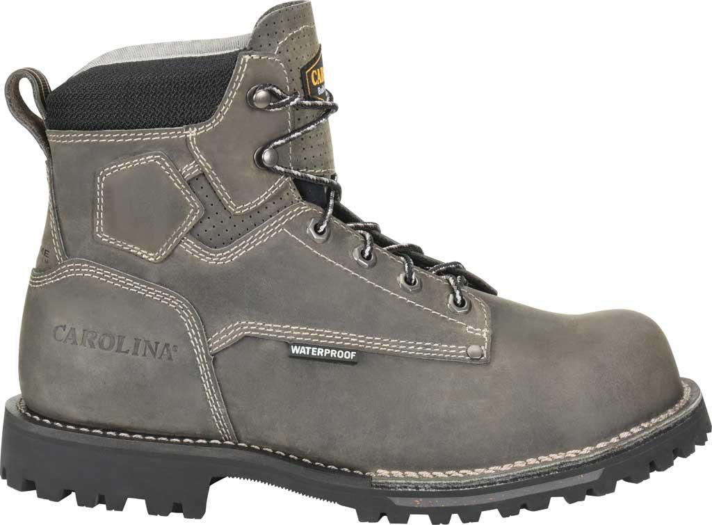 "Men's Carolina 6"" Waterproof Comp Toe Work Boot, Gray/Black Saddleback Leather, large, image 2"