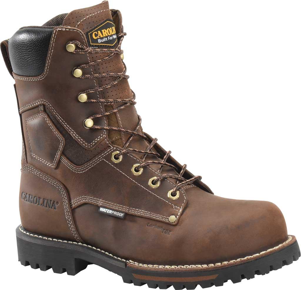 "Men's Carolina 8"" Waterproof Carbon Comp Toe Work Boot, Dark Brown Saddleback Leather, large, image 1"