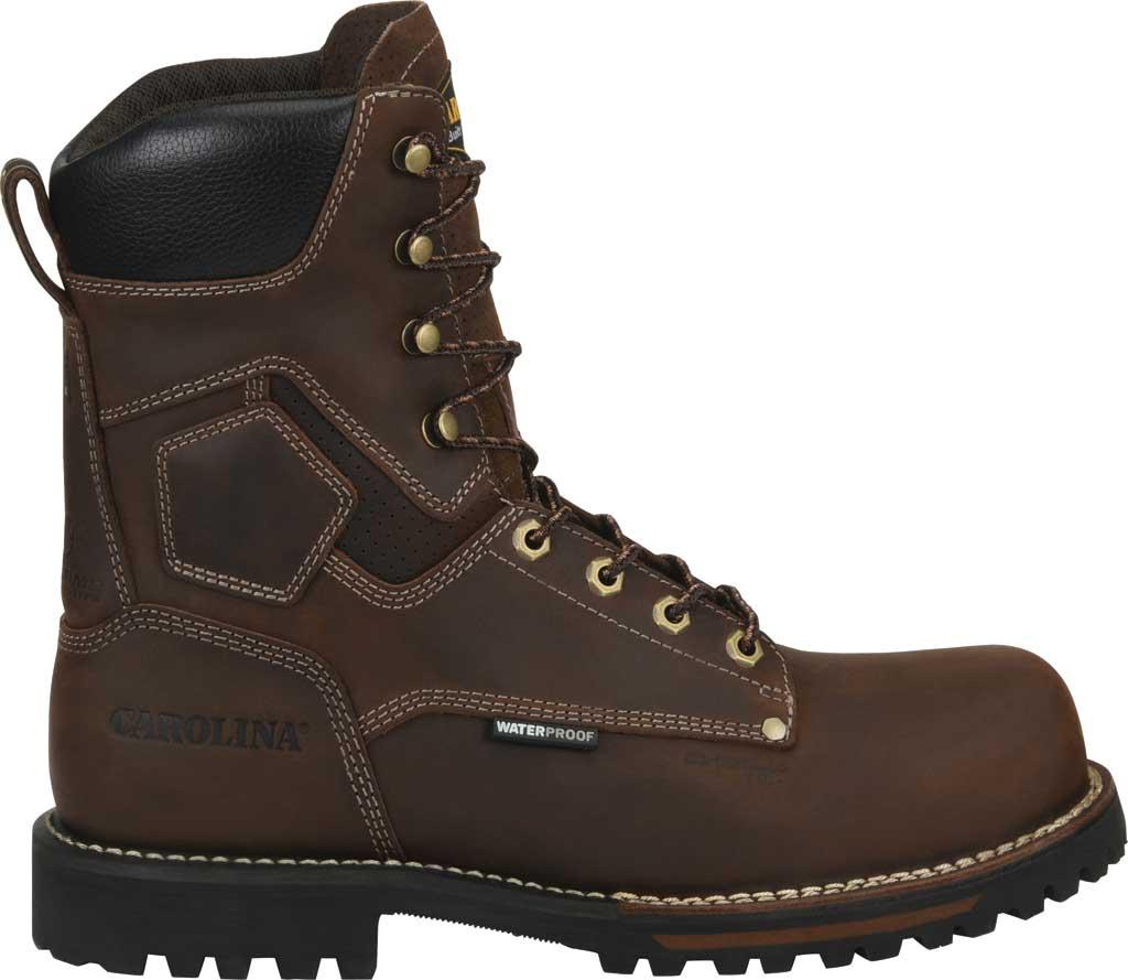 "Men's Carolina 8"" Waterproof Carbon Comp Toe Work Boot, Dark Brown Saddleback Leather, large, image 2"