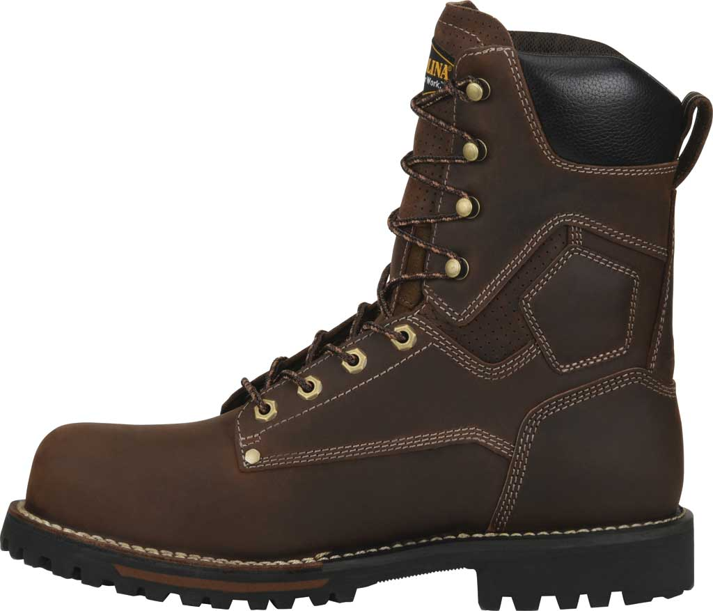 "Men's Carolina 8"" Waterproof Carbon Comp Toe Work Boot, Dark Brown Saddleback Leather, large, image 3"
