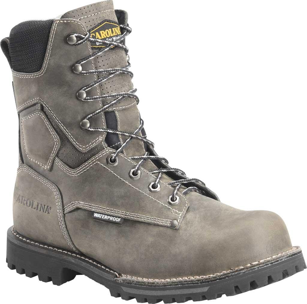 "Men's Carolina 8"" Waterproof Work Boot, Gray/Black Saddleback Leather, large, image 1"