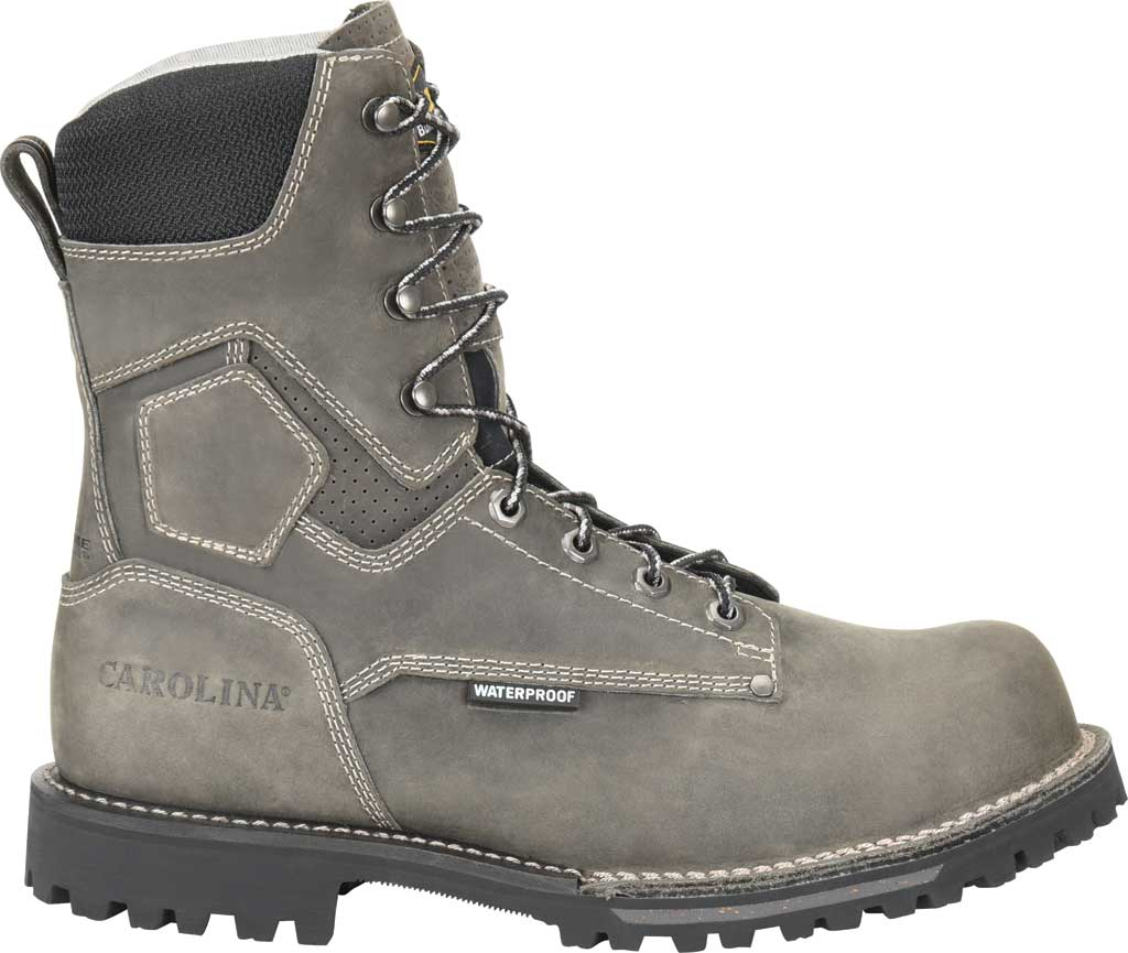 "Men's Carolina 8"" Waterproof Work Boot, Gray/Black Saddleback Leather, large, image 2"