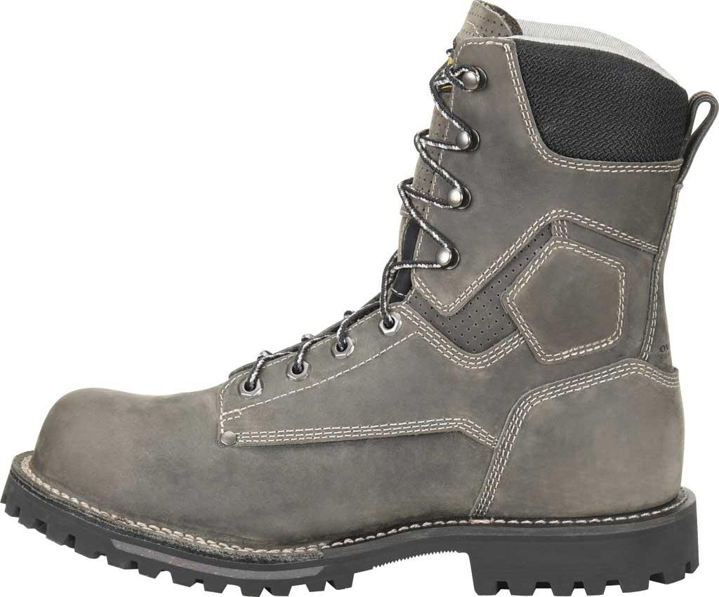 "Men's Carolina 8"" Waterproof Work Boot, Gray/Black Saddleback Leather, large, image 3"