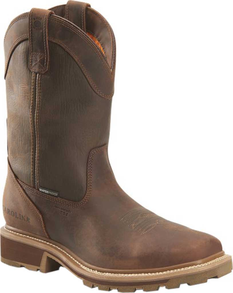 "Men's Carolina Girder 11"" Waterproof Composite Toe Cowboy Boot, Dark Brown Crazy Horse Tan Leather, large, image 1"