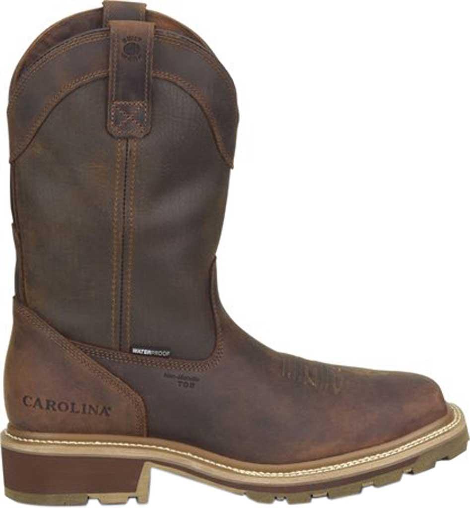 "Men's Carolina Girder 11"" Waterproof Composite Toe Cowboy Boot, Dark Brown Crazy Horse Tan Leather, large, image 2"