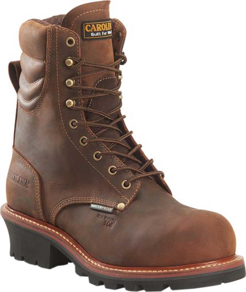 "Men's Carolina Hemlock 9"" Waterproof Composite Toe Logger Boot, Dark Brown Laid Back Leather, large, image 1"