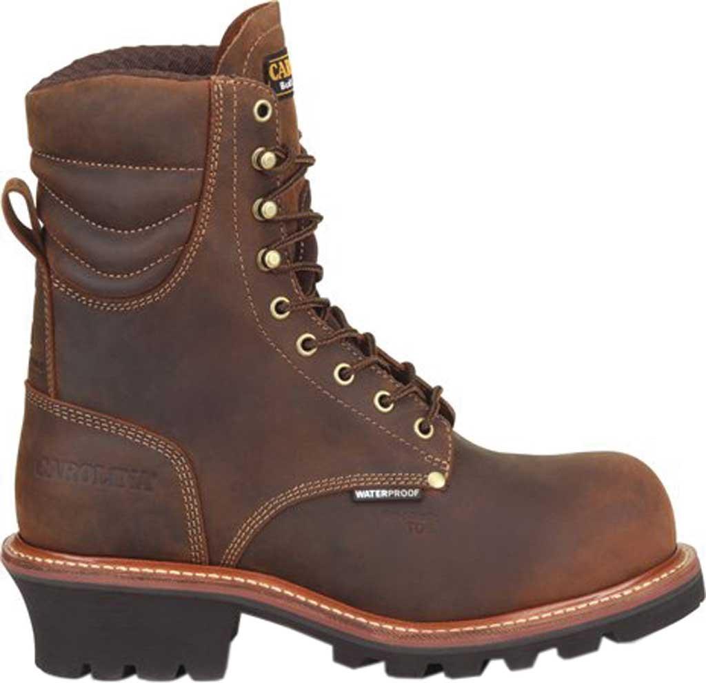 "Men's Carolina Hemlock 9"" Waterproof Composite Toe Logger Boot, Dark Brown Laid Back Leather, large, image 2"