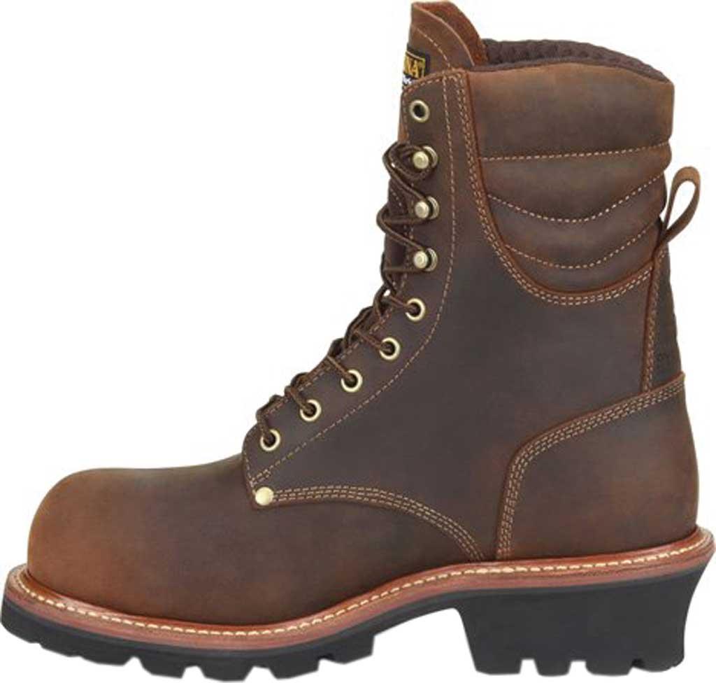 "Men's Carolina Hemlock 9"" Waterproof Composite Toe Logger Boot, Dark Brown Laid Back Leather, large, image 3"