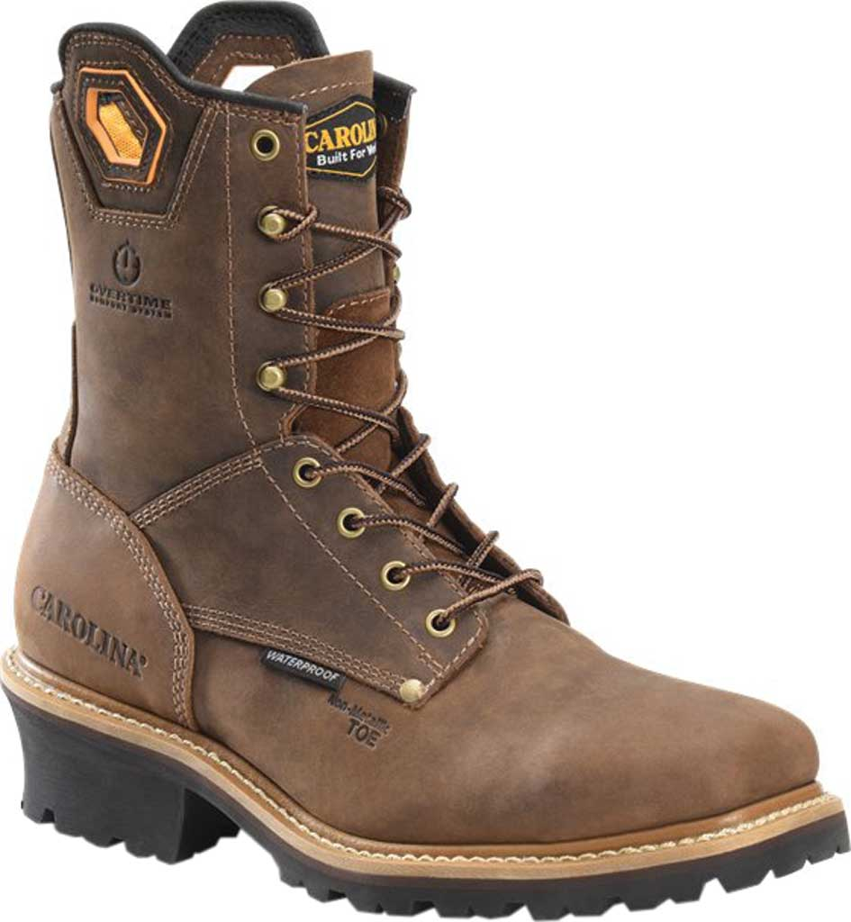 """Men's Carolina Coppice 8"""" Waterproof Composite Toe Logger Boot, Dark Brown Crazy Horse Leather, large, image 1"""