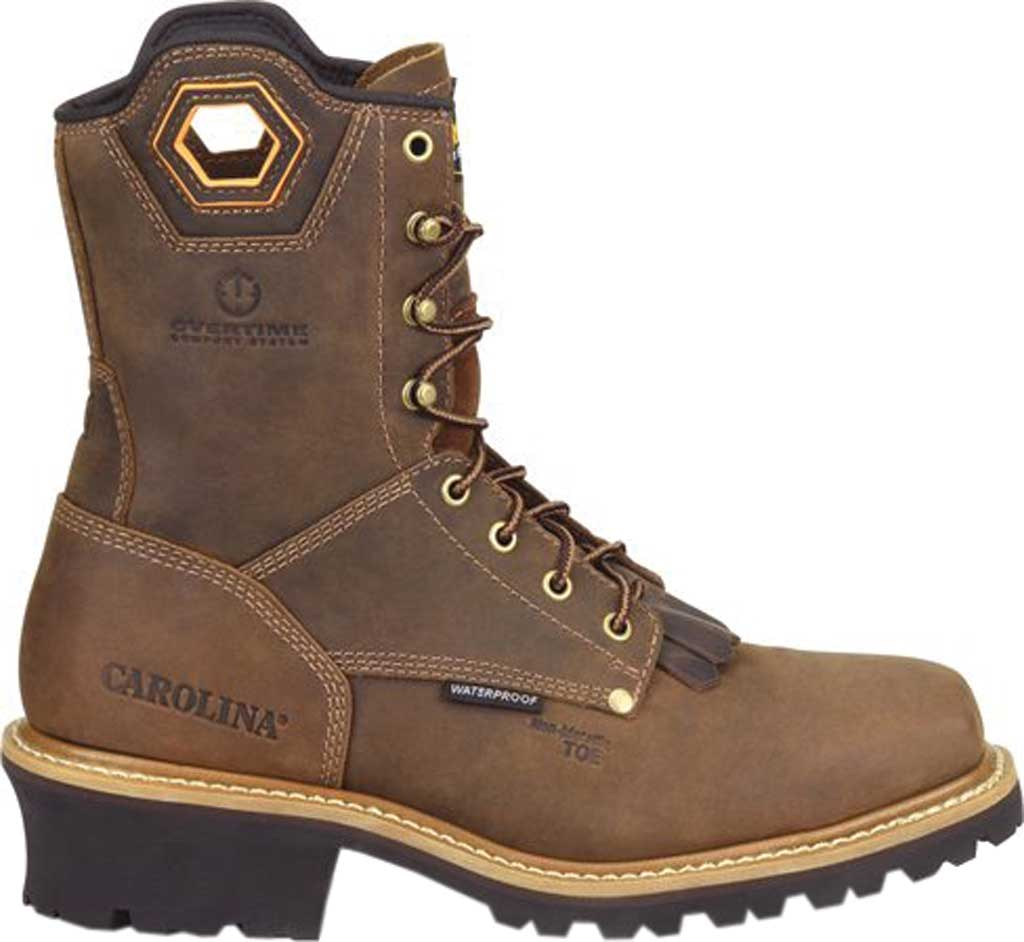 """Men's Carolina Coppice 8"""" Waterproof Composite Toe Logger Boot, Dark Brown Crazy Horse Leather, large, image 2"""