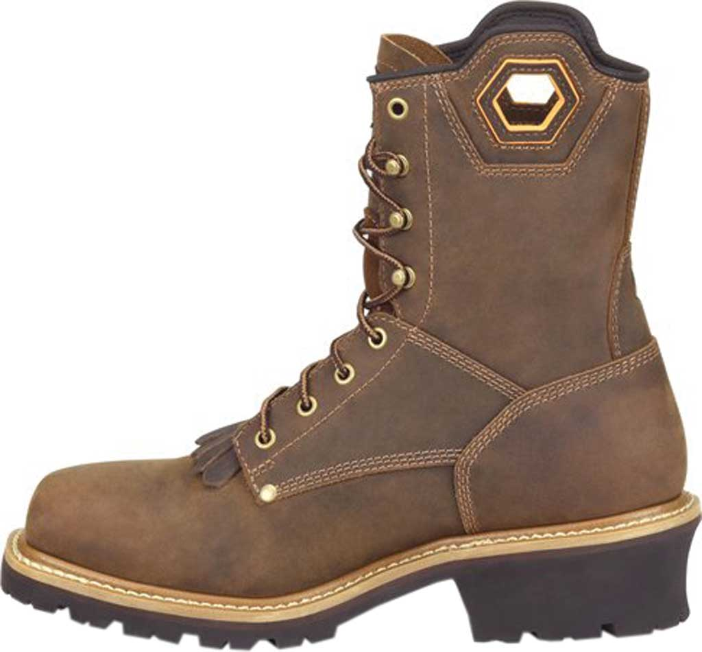 """Men's Carolina Coppice 8"""" Waterproof Composite Toe Logger Boot, Dark Brown Crazy Horse Leather, large, image 3"""