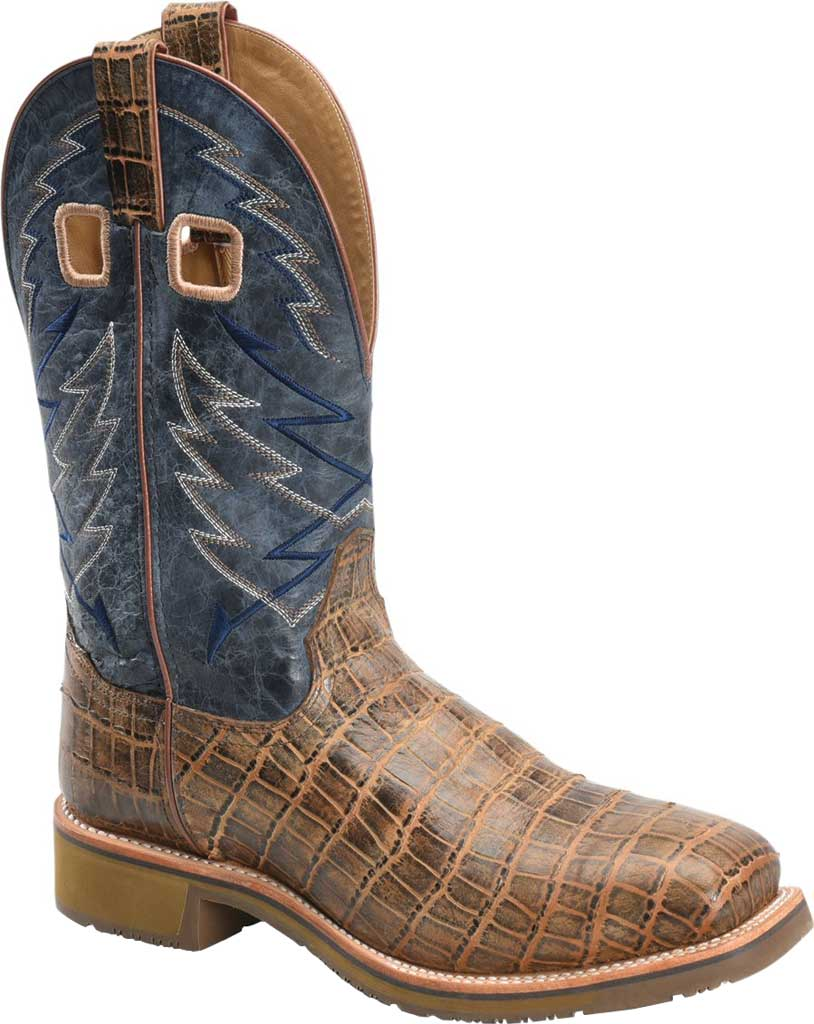 Men's Double H Nyles Steel Toe Work Boot DH7011, Navy/Antique Croco Print Leather, large, image 1
