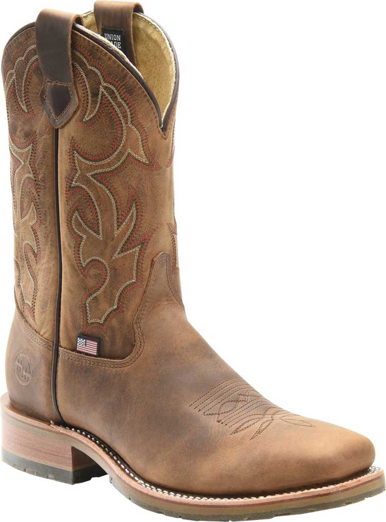 Men's Double H Anton Steel Toe Work Boot DH4637, Light Brown Old Town Folklore Leather, large, image 1