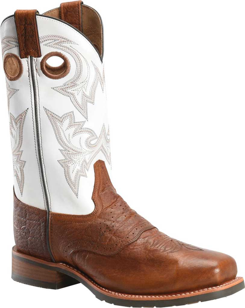 Men's Double H Marty Steel Toe Work Boot DH7003, Cognac/Natural Exotic Print Leather, large, image 1