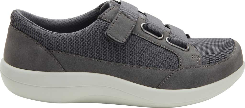 Women's Alegria by PG Lite Dahlia Hook and Loop Sneaker, Grey Relaxed Vegan Leather, large, image 2