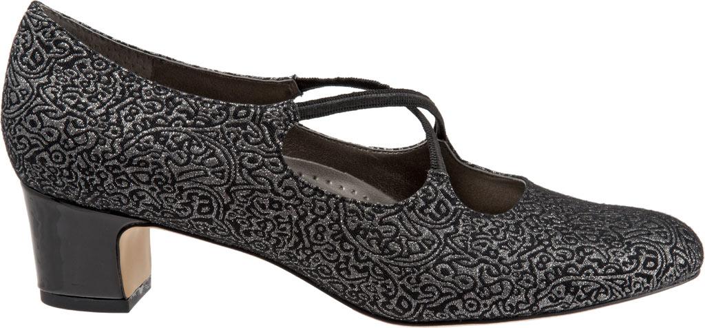Women's Trotters Jamie, Black/Silver Brocade Fabric, large, image 2