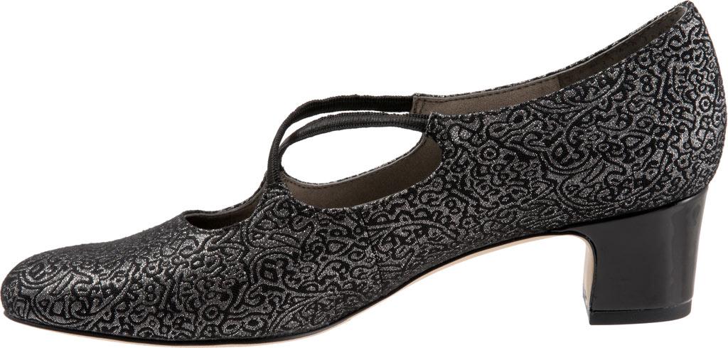Women's Trotters Jamie, Black/Silver Brocade Fabric, large, image 3