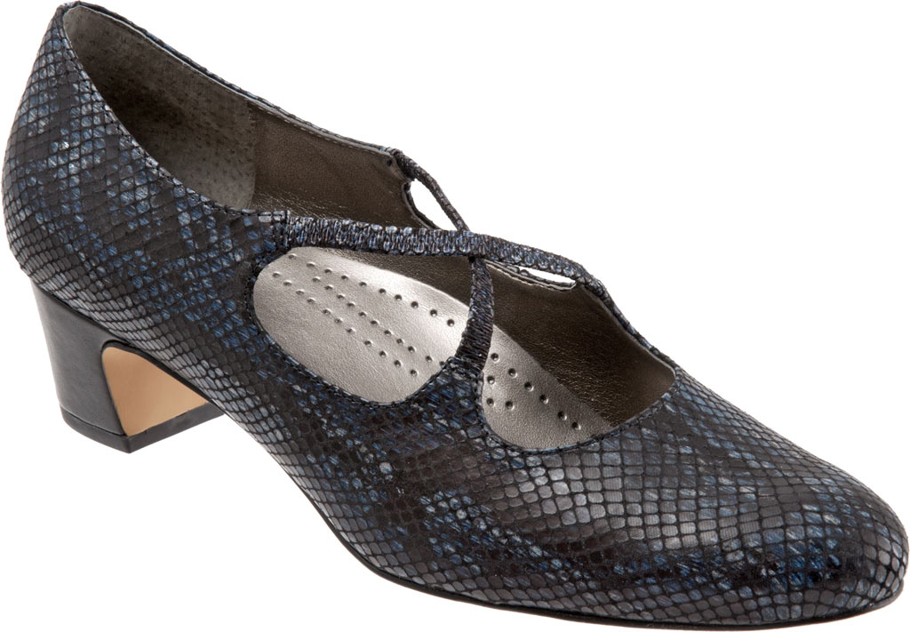 Women's Trotters Jamie, Navy Snake Embossed Fabric, large, image 1