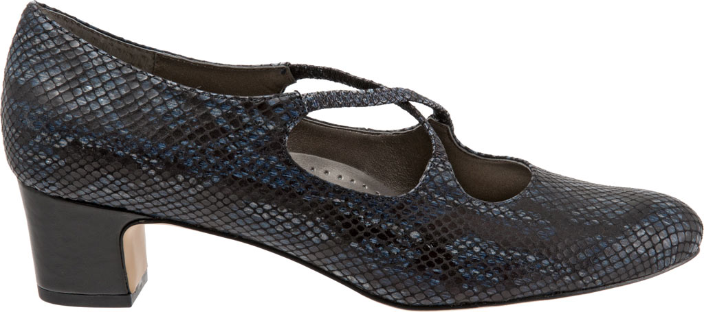 Women's Trotters Jamie, Navy Snake Embossed Fabric, large, image 2