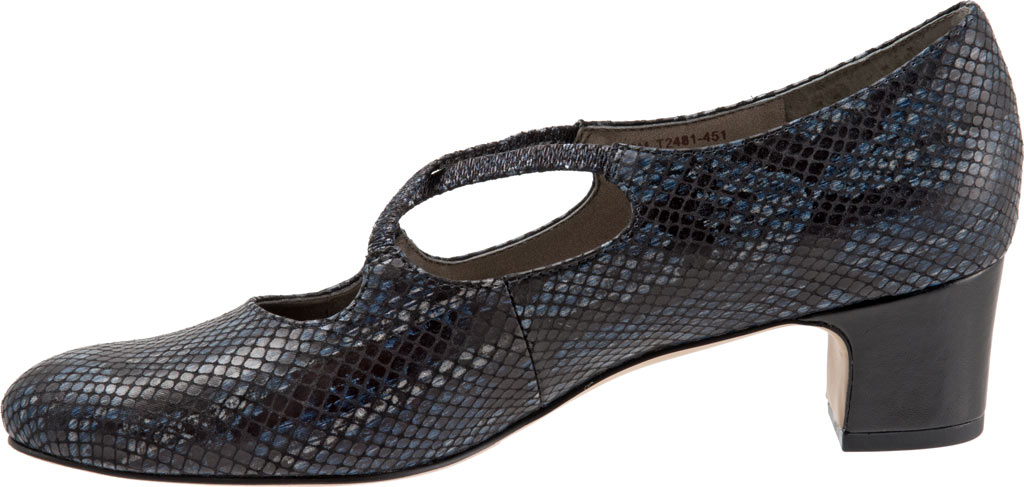 Women's Trotters Jamie, Navy Snake Embossed Fabric, large, image 3