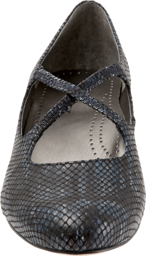 Women's Trotters Jamie, Navy Snake Embossed Fabric, large, image 4