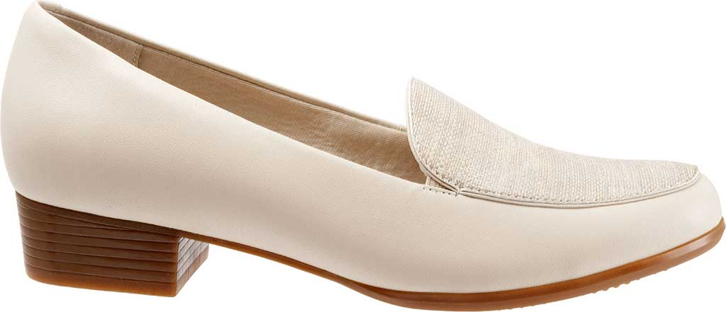 Women's Trotters Monarch Loafer, Nude/Metallic Linen/Leather, large, image 2