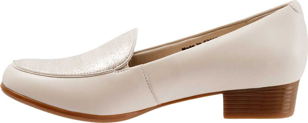 Women's Trotters Monarch Loafer, Nude/Metallic Linen/Leather, large, image 3