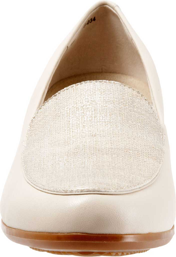 Women's Trotters Monarch Loafer, Nude/Metallic Linen/Leather, large, image 4