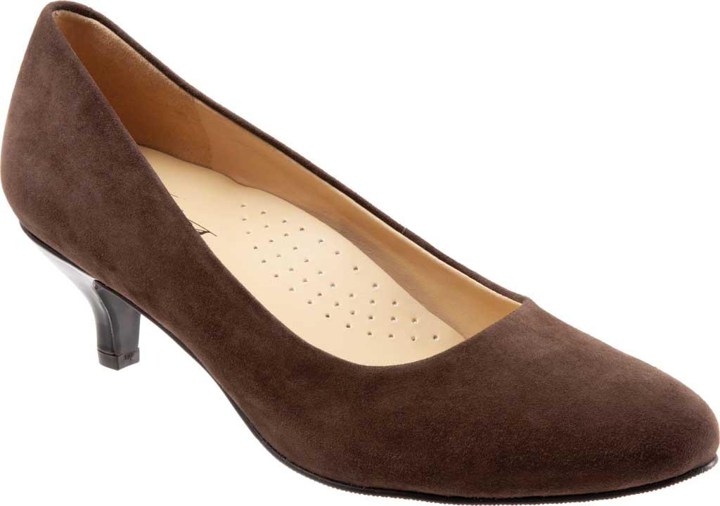 Women's Trotters Kiera Pump, Dark Brown Kid Suede Leather, large, image 1