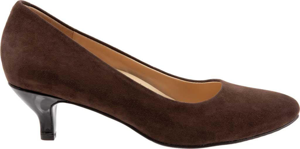 Women's Trotters Kiera Pump, Dark Brown Kid Suede Leather, large, image 2