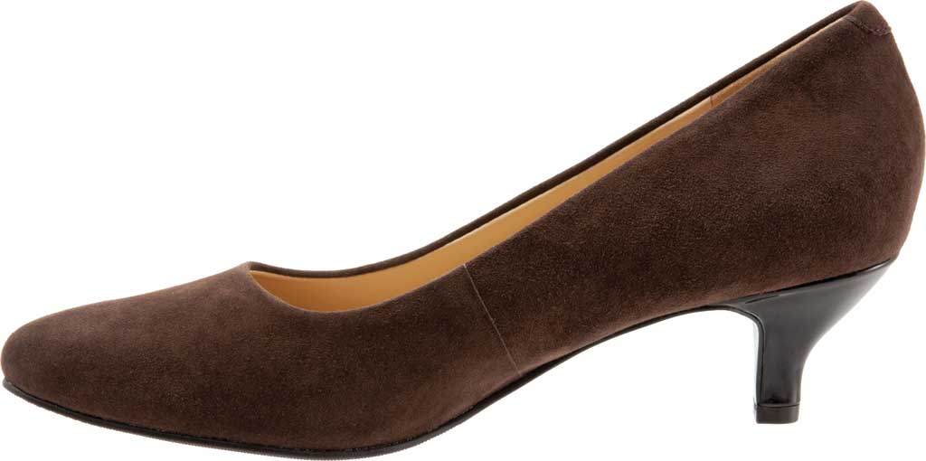 Women's Trotters Kiera Pump, Dark Brown Kid Suede Leather, large, image 3