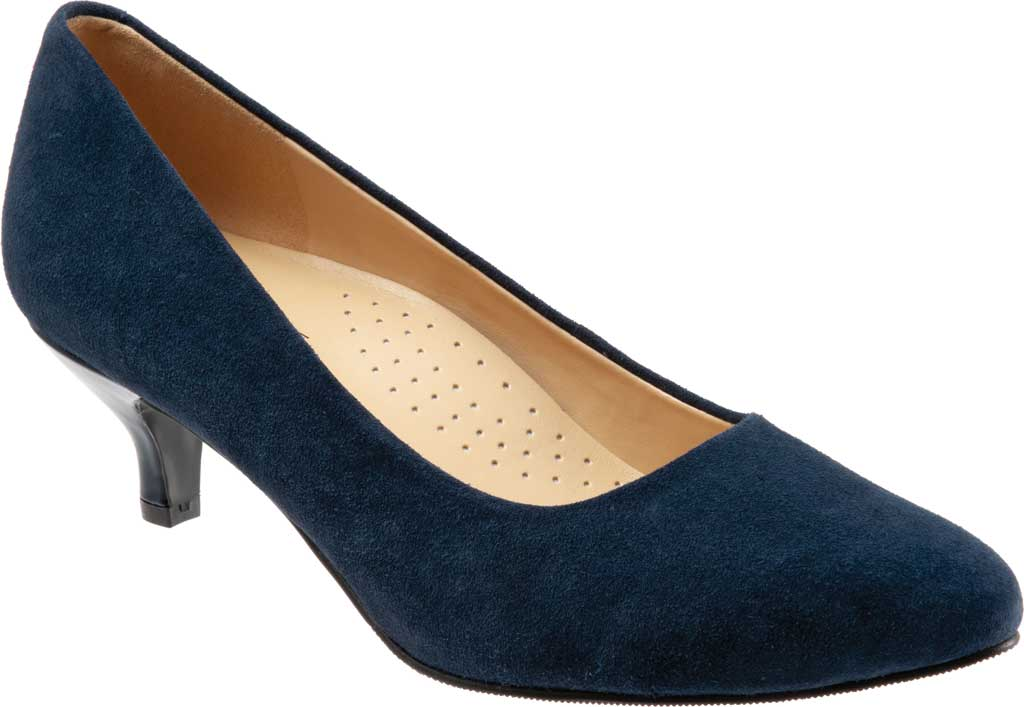 Women's Trotters Kiera Pump, Navy Kid Suede Leather, large, image 1