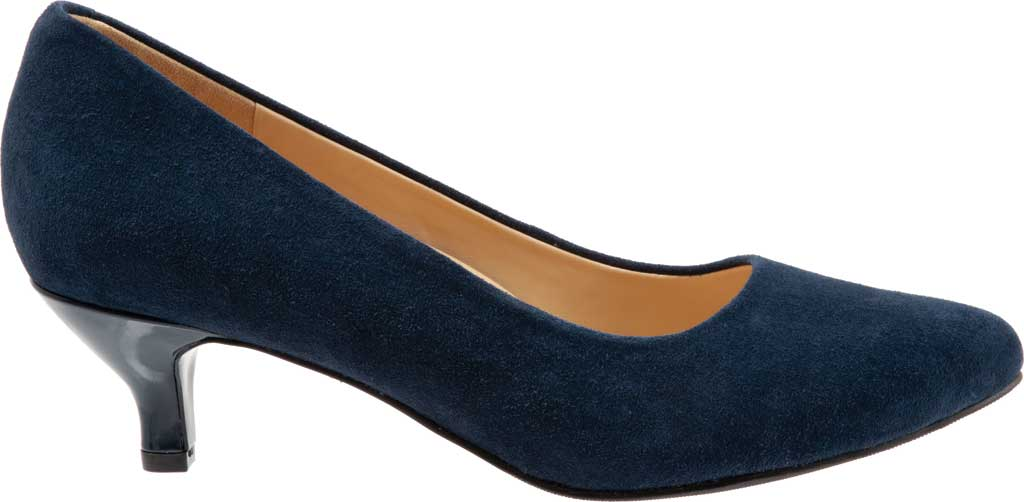 Women's Trotters Kiera Pump, Navy Kid Suede Leather, large, image 2