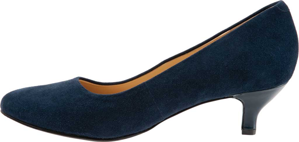 Women's Trotters Kiera Pump, Navy Kid Suede Leather, large, image 3