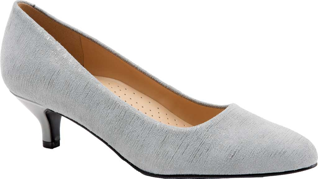 Women's Trotters Kiera Pump, Grey/Silver Metallic Printed Leather, large, image 1