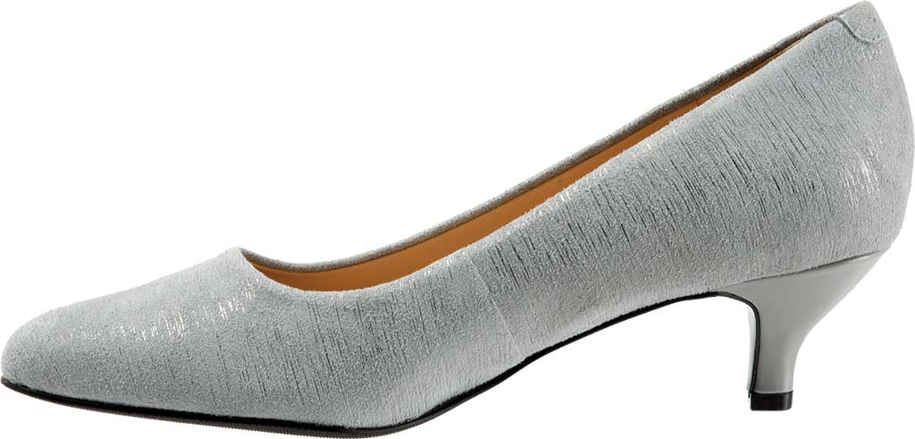 Women's Trotters Kiera Pump, Grey/Silver Metallic Printed Leather, large, image 3