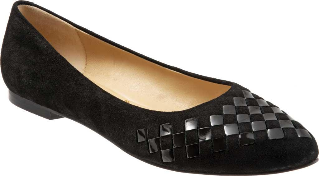 Women's Trotters Estee Woven Ballet Flat, Black Suede/Patent Leather, large, image 1