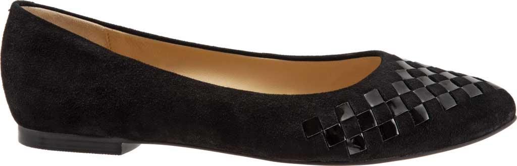 Women's Trotters Estee Woven Ballet Flat, Black Suede/Patent Leather, large, image 2