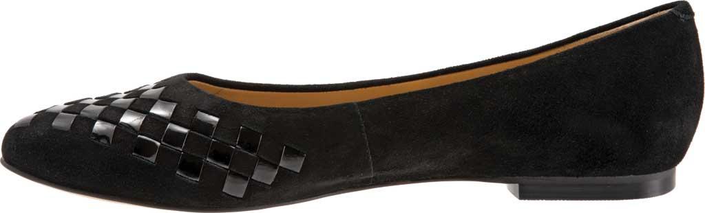 Women's Trotters Estee Woven Ballet Flat, Black Suede/Patent Leather, large, image 3