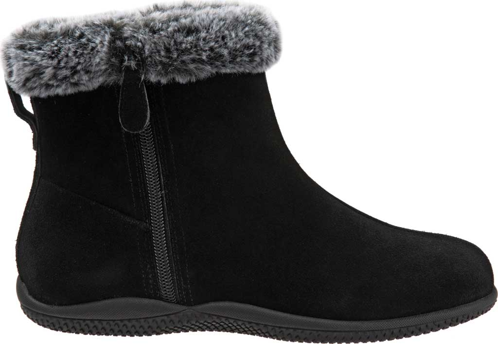 Women's SoftWalk Helena Ankle Boot, Black Suede, large, image 2