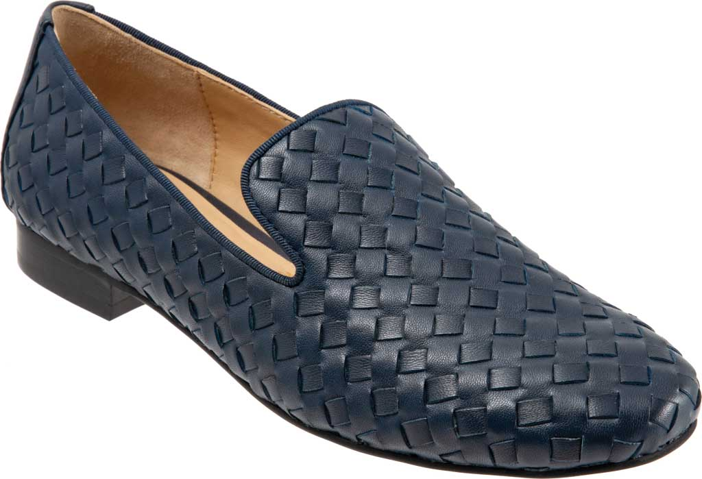 Women's Trotters Gracie Woven Smoking Flat, Navy Leather, large, image 1