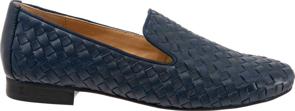 Women's Trotters Gracie Woven Smoking Flat, Navy Leather, large, image 2
