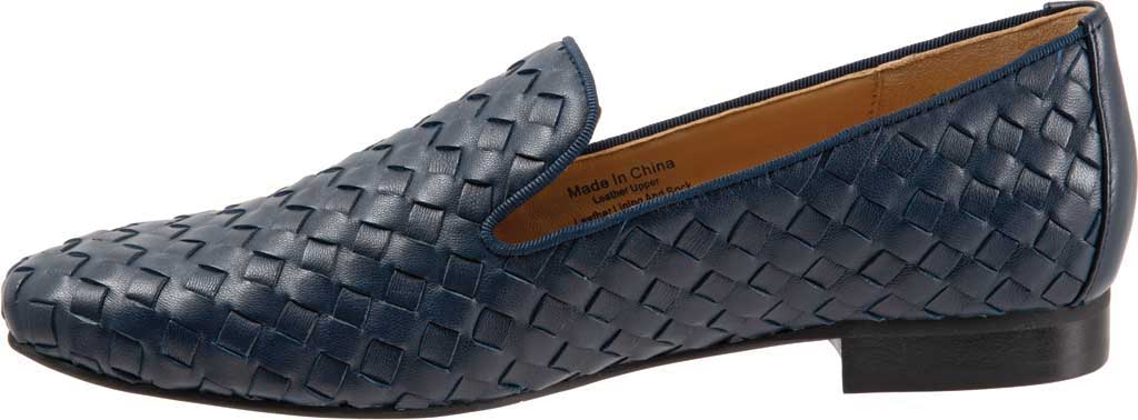 Women's Trotters Gracie Woven Smoking Flat, Navy Leather, large, image 3