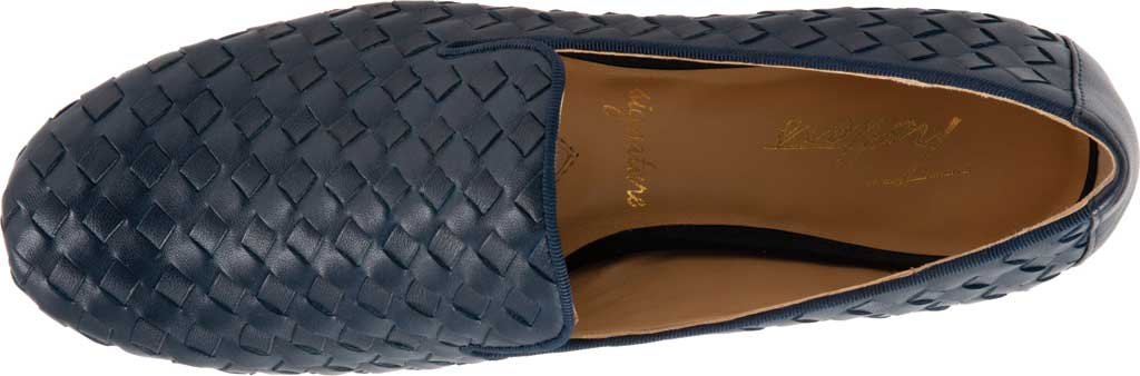 Women's Trotters Gracie Woven Smoking Flat, Navy Leather, large, image 5
