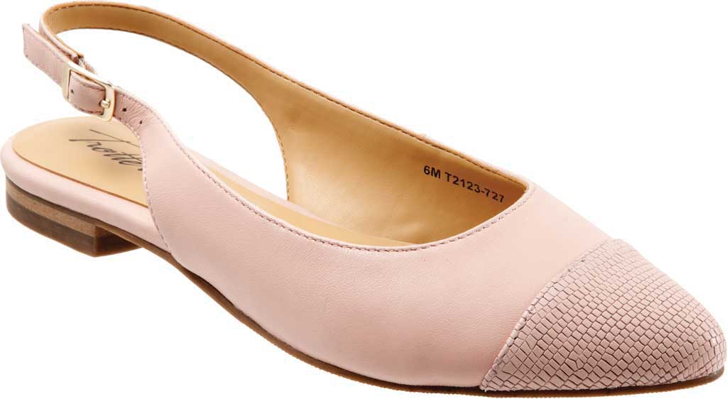 Women's Trotters Halsey Slingback, Light Pink Sheep Soft Leather/Lizard Embossed, large, image 1